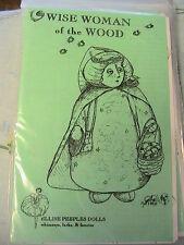 """WISE WOMAN OF THE WOOD~Ellise Peeples 10"""" RARE OOP cloth art doll pattern"""