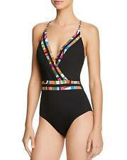 NWT NEW Nanette Lepore Black Mambo Goddess One Piece Swimsuit Medium M $128 d30