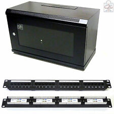 6U Black 300mm Data Cabinet + Cat6 Patch Panel Network Data LAN Comms Wall Rack