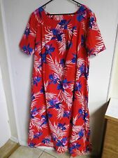 AT HOME WEAR WOMENS PLUS SIZE 3X PULL ON  FLOOR LENGTH NIGHTGOWN HAWAIIN FLORAL