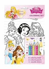 Disney PRINCESS Colouring Set Sheets Pencils Stickers Kids Activity ANKER