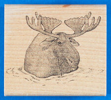 Moose in Water Stamp by Rubber Stamps of America - Stipple Art Lake River