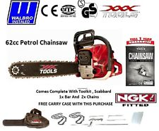 "NEW 2016 62cc Petrol Chainsaw 16"" Bar 2 X 16"" Chains WALBRO CARB NGK-R"