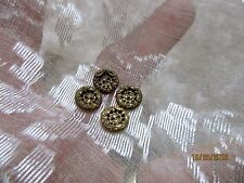 """ANTIQUE VICTORIAN FINELY DETAILED ETCHED PIERCED BRASS METAL BUTTONS  5/16"""" 4PC"""