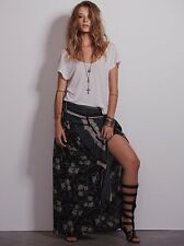 Free People Blue Floral Print Convertible Boho Festival Maxi Skirt Dress S Rare
