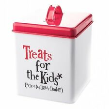 TREATS FOR THE KIDS (*or naughty daddy) Tin White Storage Container Gift New