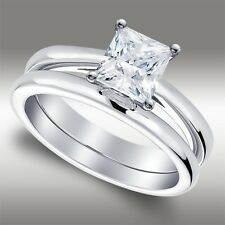 1.54 Ct Princess Cut Solitaire Lab Engagement Ring & Band set in 14k White Gold