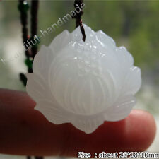 Natural white jade Snow Lotus flower beads pendant / Free gift Woven necklace