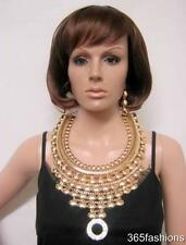 STATEMENT GLAM EGYPTIAN STYLE RHINESTONE BIB FRONT NECKLACE EARRING SET GOLD