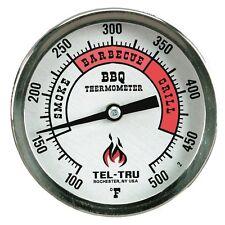 """Tel-Tru BQ300 BBQ Grill & Smoker Thermometer Aluminum 3"""" Dial w/ 6"""" Stem"""
