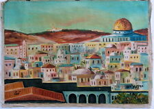 ISRAEL 1950s DOME OF THE ROCK OLD CITY JERUSALEM MOUNT OF OLIVES IMPRESSIONIST