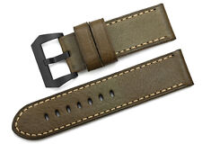 26mm Army Green Genuine Leather Watch Strap Black PVD Buckle Band For Panerai