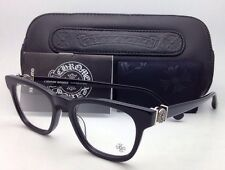 New CHROME HEARTS Eyeglasses LOUVIN CUP BK 48-19 Black Frame w/ Sterling Silver