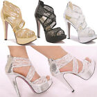 Royal Glitter Lace Princess Gorgeous Wedding Bridesmaids Shoes Sandal High Heels