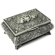 Metal Antique Ring Necklace Jewellery Trinket Display Storage Vintage Box Case C