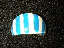 Blue and White Striped Plastic Ring. Size N (J94)