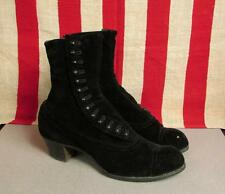 Vintage Antique Leather Boots Spats Victorian Blackington Shoes Sz.6 (37.5)1900s