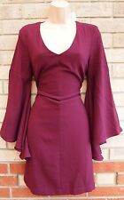 MISS SELFRIDGE BURGUNDY FLARE SLEEVE A LINE SKATER V NECK PARTY TEA DRESS 12 M