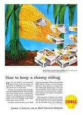 "1959 Kellogg's Corn Flakes Box photo Keep a Champ Rolling"" Shell Oil print ad"