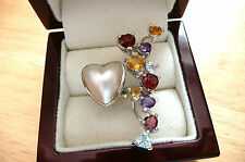 LONG WHITE MABE PEARL,BLUE TOPAZ,GARNET 925 SILVER HEART STATEMENT RING SZ M 6.5