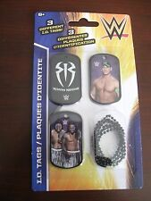 "3 DIFFERENT NEW ""WWE I.D.TAGS""  JOHN CENA ROMAN REIGNS AND MORE NEW IN PACKAGE"