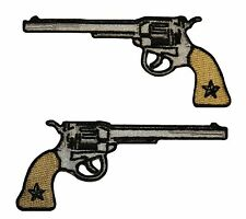 Pair Guns Pistols Western Embroidered Iron On Badge Appliques Patches FD