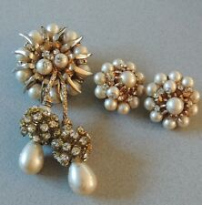 STUNNING Hattie Carnegie Rhinestone Pearl Dangle Statement Brooch Earrings Set