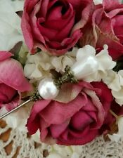 Antique Inspired Victorian Hat Pin Vintage Pearl Beads & Brass Fittings. Strong
