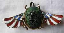 Egyptian Revival antique green scarab beetle & enamel brooch Stunning!