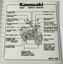 KAWASAKI GPZ550H DAILY SAFETY CHECKS CAUTION WARNING DECAL
