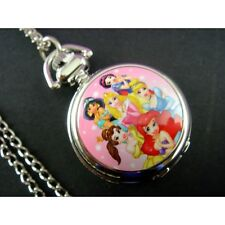 Disney Princess Cinderella Ariel Child Fashion Pocket Pendant Watch Necklace