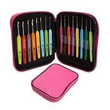 16Pcs 1.0-6.0mm Aluminum Crochet Hook Weave Yarn Knitting Needles Kit Set Case