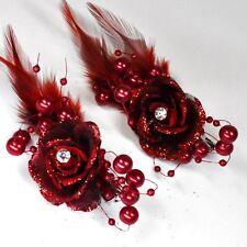 2 Stück Haarclip WEINROT ROT Ansteckblume Blume Perlen Federn Strassstein Blumen