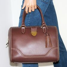 NWOT Ralph Lauren Bevington Large Brown Leather Barrel Satchel Handbag Bag NICE!