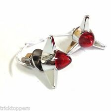 "2 Chrome ""Red"" Vintage Tri Bar License Plate Frame Bolts - Lighted Bullet Tag"