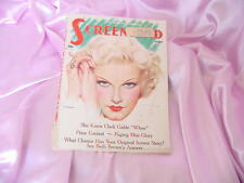 OLD AUGUST 1935 SCREENLAND MOVIE PICTURE MAGAZINE JEAN HARLOW COVER NR