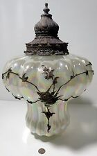 Vintage Hanging Irridescent Swag Lamp Light Fixture Brass Applied Floral
