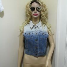 Dip DYED BLEACHED Sleeveless Denim JEAN Vest jacket with pockets S