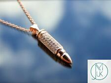 Sterling Silver 925 Bullet Pendant Necklace with Cubic Zirconia Rose Gold