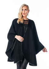 Madison Ave Mall Women's Cashmere Cape Black - Leather Trimmed