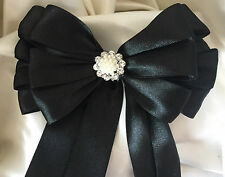 Bouquet Handle Holder Bridal Satin Ribbon bow with tails jeweled bling centre