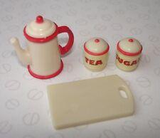 Sylvanian families accessoires de cuisine-théière, thé et sucre et à découper planche