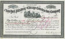 Usa Ny Pittsburg & Chicago Construction Company stock certificate 2'Nd Mort 1881