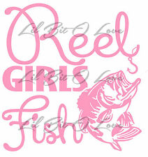Mini Version Reel Girls Fish Vinyl sticker decal with bass for vehicle Fishing
