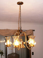 BRONZE CHANDELIER CEILING FAN WITH BULBS AND VOTIVE GLOBES