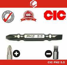 "CIC 1/4"" (6.35mm) Hex Shank Double-Headed PH2 & Slot 5.5mm Screwdriver Bit 60mm"
