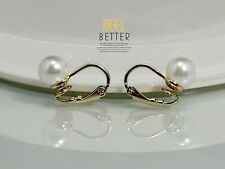 Boucles d`Oreilles Doré Clips on Puces Nonpercee Perle Blanche Simple 8mm J1