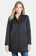Eileen Fisher Stand Collar Quilted Long Jacket Coat Black SZ M