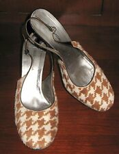 DOLCE & GABBANA ❤ D&G Brown Cream Houndstooth Pony Hair Slingback Heels 39 / 8.5