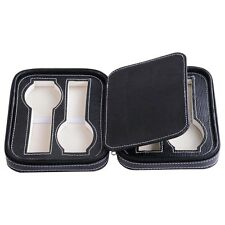 Large 4 PU Leather Watch Box Display Zipper Case Jewelry Travel Storage Black
